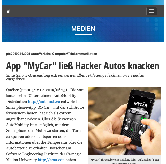 "Interview zum Thema Sicherheit im ""Connected Car"""
